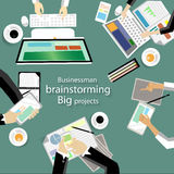 Vector workplace for business meetings and brainstorming. Analysis plan Concept and web banners, print media and mobile technology royalty free illustration