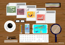 Vector Workplace business people view the use of modern communication technologies, notebooks, tablets, mobile phones, glasses, pe. Ns, pencils, rulers, paper Royalty Free Stock Image