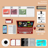 Vector Workplace business people view the use of modern communication technologies, notebooks, tablets, mobile phones, glasses, pe. Ns, pencils, rulers, paper Stock Images