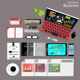Vector Workplace business people view the use of modern communication technologies, notebooks, tablets, mobile phones, glasses, pe Royalty Free Stock Image