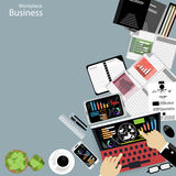 Vector Workplace business people view the use of modern communication technologies, notebooks, tablets, mobile phones, glasses, pe. Ns, pencils, rulers, paper Royalty Free Stock Images