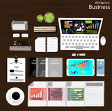 Vector Workplace businessman viewed the use of modern communication technologies, notebooks, tablets, mobile phones, cameras, penc Royalty Free Stock Image