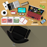 Vector Workplace businessman viewed the use of modern communications technology, notebook,mobile phone, chair, glasses, pens, penc Stock Photos