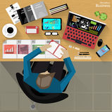 Vector Workplace businessman viewed the use of modern communications technology, notebook,mobile phone, chair, glasses, pens, penc Royalty Free Stock Image