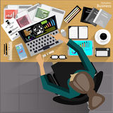Vector Workplace businessman viewed the use of modern communications technology, notebook,mobile phone, chair, glasses, pens, penc Stock Photo