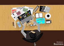 Vector Workplace businessman viewed the use of modern communications technology, notebook,mobile phone, chair, glasses, pens, penc Stock Image
