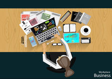 Vector Workplace businessman viewed the use of modern communications technology, notebook,mobile phone, chair, glasses, pens, penc Stock Images