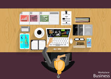 Vector Workplace businessman viewed the use of modern communications technology, notebook,mobile phone, chair, glasses, pens, penc Royalty Free Stock Photography