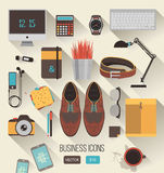 Vector workplace concept. Set of business icons in flat design. Stock Image