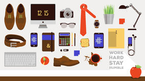 Vector workplace concept. Set of business icons. Royalty Free Stock Image