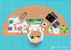 Vector Works pace technology business flat design. And document graph Stock Photo