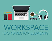 Vector workspace elements Royalty Free Stock Images