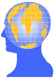 Vector World. A globe headed man symbolizing thinking about global issues Royalty Free Stock Photo