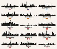 Vector world city skylines silhouettes with flags vector illustration