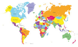 Vector world colored map Stock Image