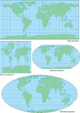 Vector world contour map in four projections. Plate, Mercator, Robinson and Mollweide Stock Photography