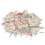 Vector world country or continent. Vector conceptual world country or continent old torn paper red global unity, vacation travel word cloud isolated background stock illustration