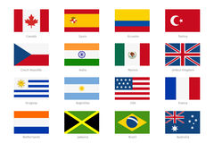 Vector world flags in flat style Royalty Free Stock Photography