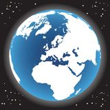 Vector world globe. And space royalty free illustration