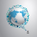 Vector world globe with app icon Stock Photography