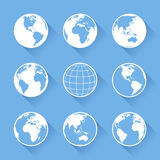 Vector World Globe icons. Set of nine vector globe icons with four views of the earth, with great detail Stock Photos