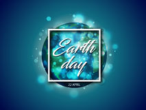 Vector world globe planet with Earth day text in white square frame with sparks light effect on blue background Stock Image
