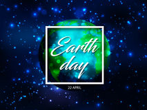 Vector world globe planet with Earth day text in white square frame with sparks light effect on blue starry sky or space Royalty Free Stock Photos