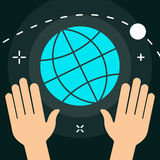 Vector World with Hands Flat Minimal Style Colorful Icon Royalty Free Stock Images