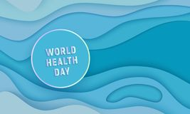 Vector world health day papercut circle on blue vector illustration