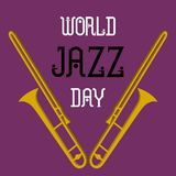 Vector world jazz day concept with 3d trumpets, minimal poster. Card Stock Image