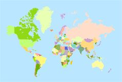 Vector world map Royalty Free Stock Photos
