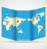 Vector world map. Illustration with map pins Stock Image