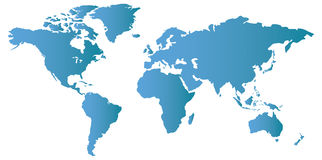 Vector World Map. This is a vector illustration and requires vector editing software, such as  Adobe Illustrator,  Freehand, or CorelDRAW to edit this file Stock Photo