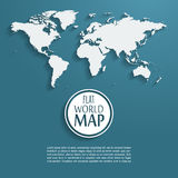 Vector world map background with long shadow and. Flat design style, clean and modern Stock Photography