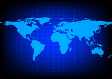 Vector World Map on blue background Stock Image