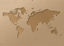 Vector World map  Brown Cardboard Stock Photography