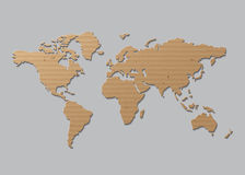 Vector World map  Brown Cardboard Royalty Free Stock Photo