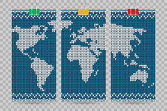 Vector world map business cards set blue knitting style Royalty Free Stock Photos
