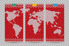 Vector world map business cards set lovely knitting style Stock Image
