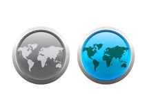 Vector World Map Buttons. Layered  illustration of world maps in glass button style Stock Images