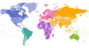 Vector world map colored by continents Stock Photos