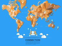 Vector world map connection, origami. Vector world map, connection blue,origami vector illustration