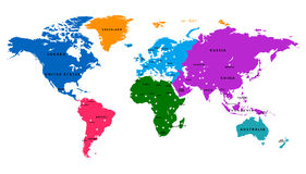 Vector World map with country and capital Stock Photos