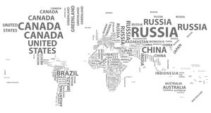 Vector world map with country names in typography Royalty Free Stock Images