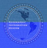 Vector of World Map Globe on the Blue Denim Texture Background, EPS 10. Geographic information system concept. Western hemisphere on jeans textile background royalty free illustration