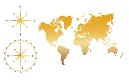 Vector world map - gold. World map in gold with compass Royalty Free Stock Image
