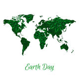 Vector World Map with Green Floral Pattern Stock Photos