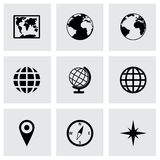 Vector world map icon set Stock Photos