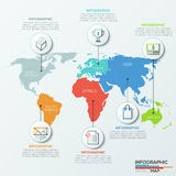 Vector world map illustration and infographics design template. Stock Images