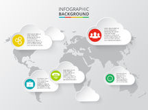 Vector world map with infographic elements Royalty Free Stock Photo